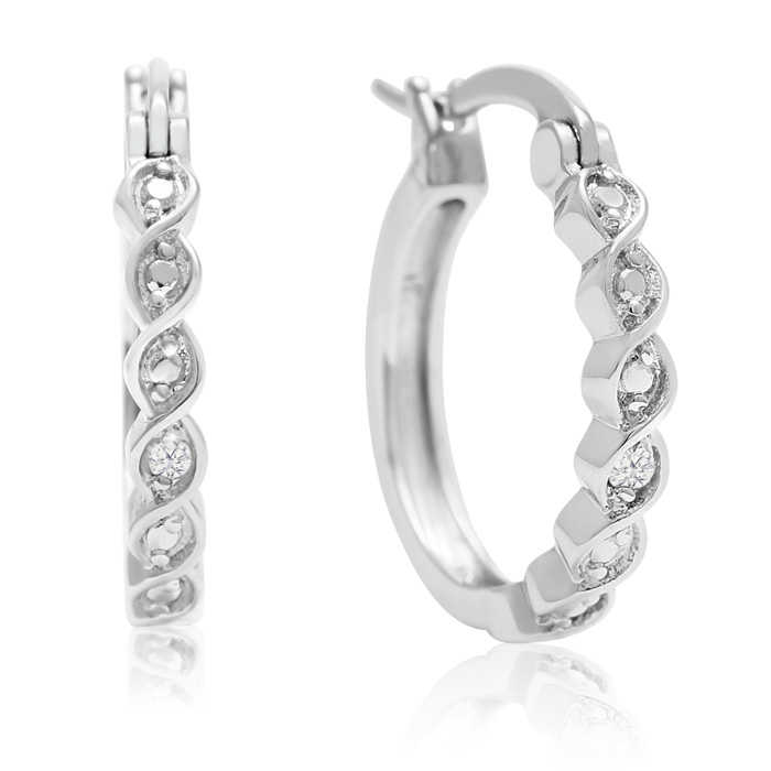 Diamond Twist Hoop Earrings