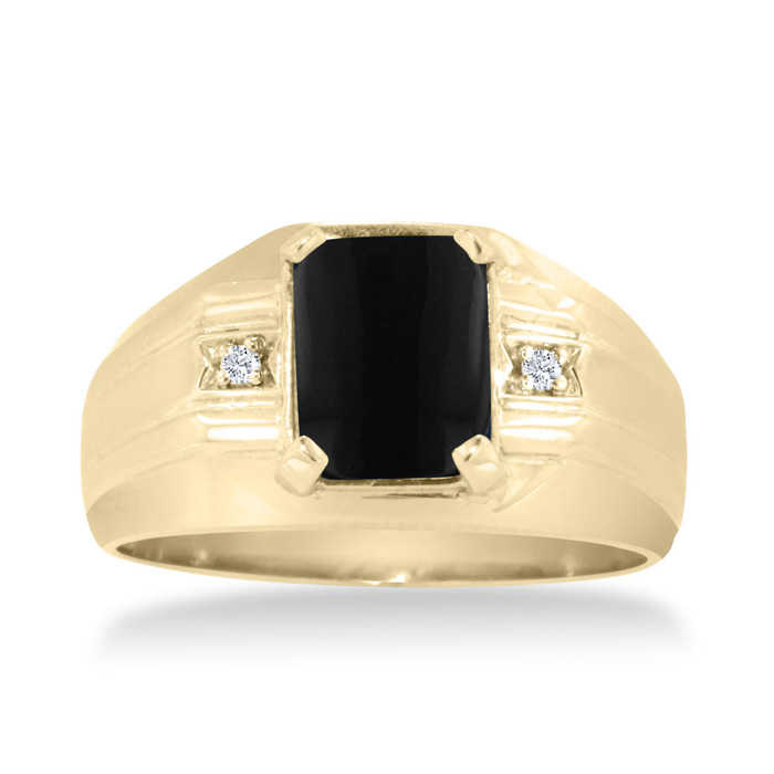Emerald Cut Black Onyx & Diamond Men's Ring Crafted in Solid 14K Yellow Gold