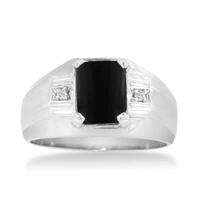 Emerald Cut Black Onyx & Diamond Men's Ring Crafted in Solid White Gold