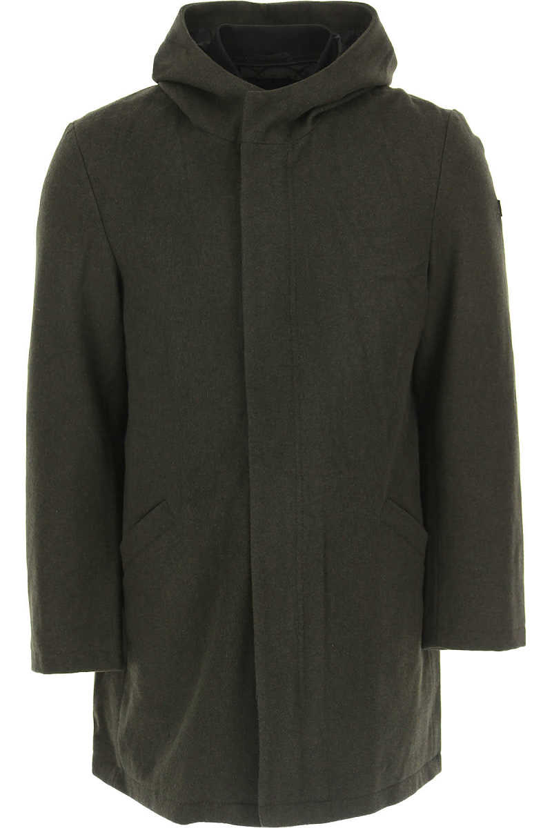 Emporio Armani Men's Coat On Sale in Outlet Military Green - GOOFASH