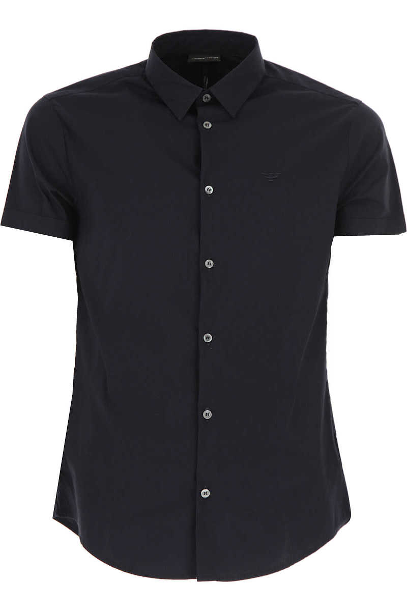 Emporio Armani Shirt for Men On Sale Dark Midnight Blue - GOOFASH