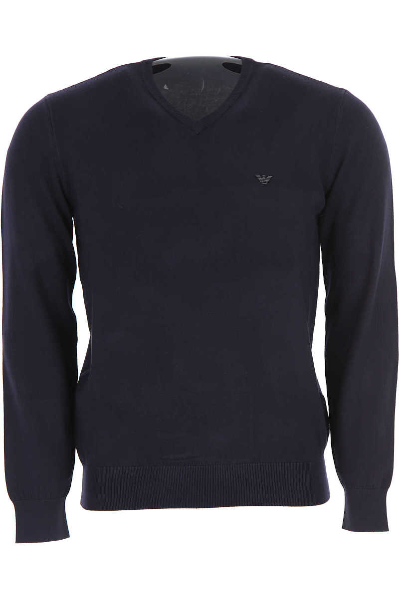 Emporio Armani Sweater for Men Jumper On Sale Navy Blue UK - GOOFASH - Mens SWEATERS