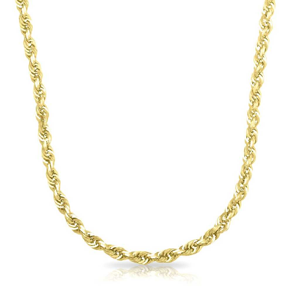 Endura Gold® Dual Glitter Solid Rope Chain in 14K Yellow Gold