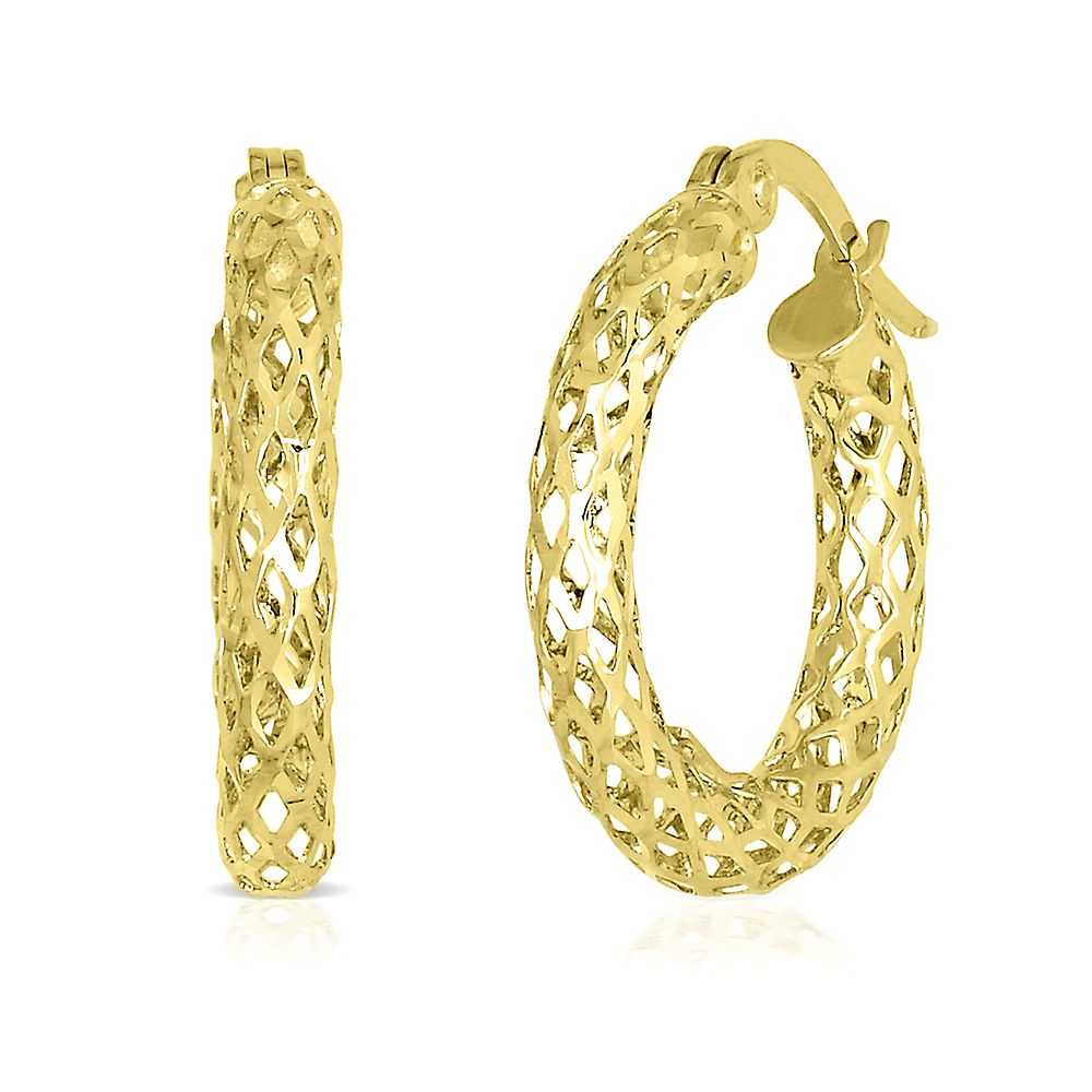 Endura Gold® Glitter Mesh Hoop Earrings in 14K Yellow Gold - Endura Gold USA - GOOFASH - Womens JEWELRY