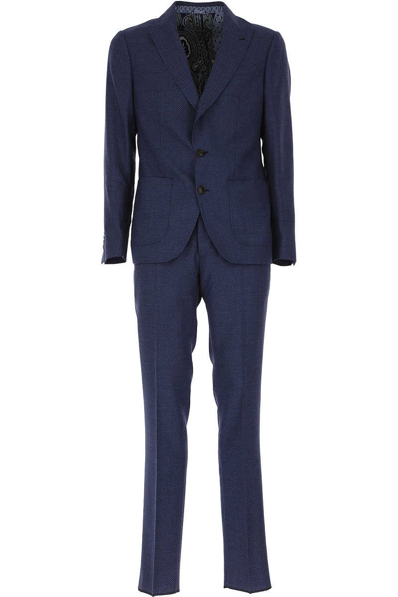 Etro Men's Suit On Sale Bluette UK - GOOFASH - Mens SUITS