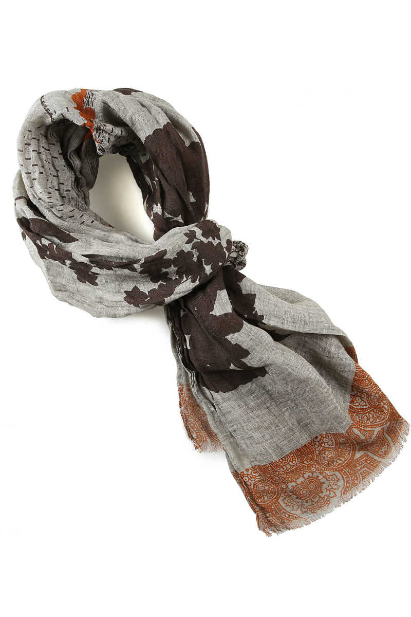 Etro Scarf for Men On Sale Grey - GOOFASH