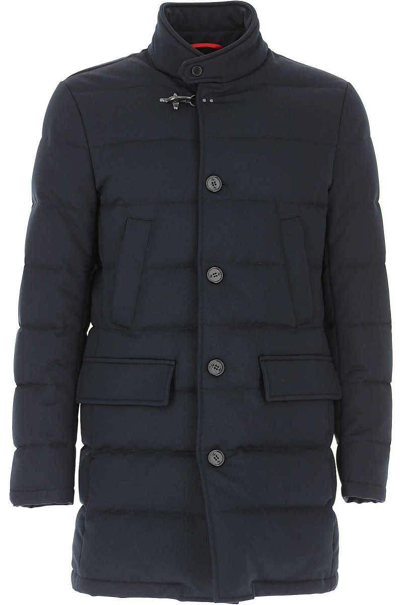 Fay Men's Coat On Sale in Outlet Navy Blue - GOOFASH