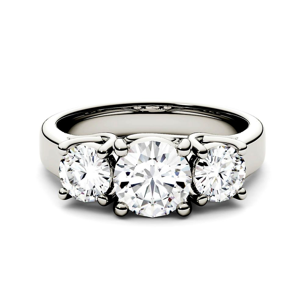 Forever One™ 2 ct. tw. Moissanite Three-Stone Ring in 14K White Gold - Forever One USA - GOOFASH - Womens JEWELRY
