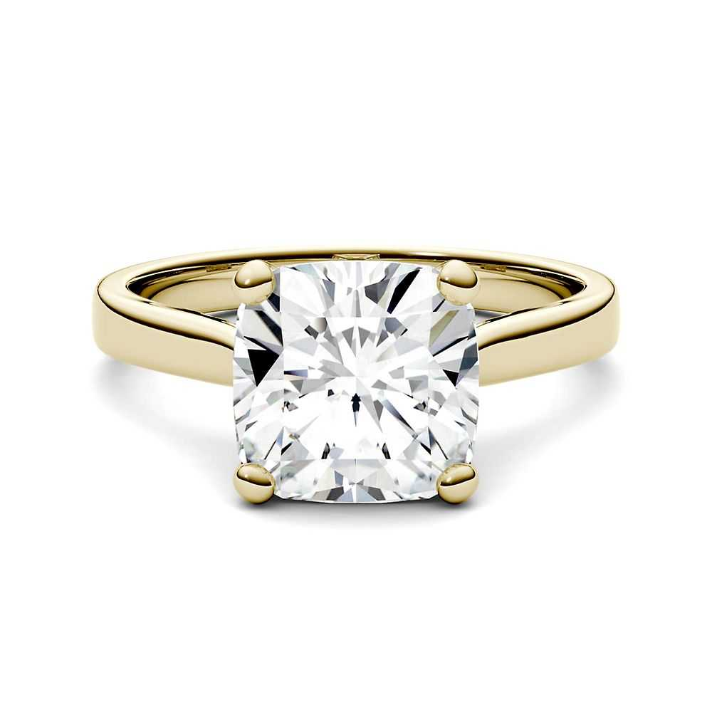 Forever One™ 3 ct. tw. Moissanite Solitaire Ring in 14K Yellow Gold - Forever One USA - GOOFASH - Womens JEWELRY