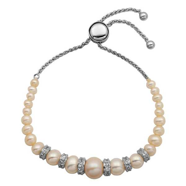 Freshwater Cultured Pearl & Lab-Created White Sapphire Bolo Bracelet in Sterling Silver - Helzberg Diamonds USA - GOOFASH - Womens JEWELRY