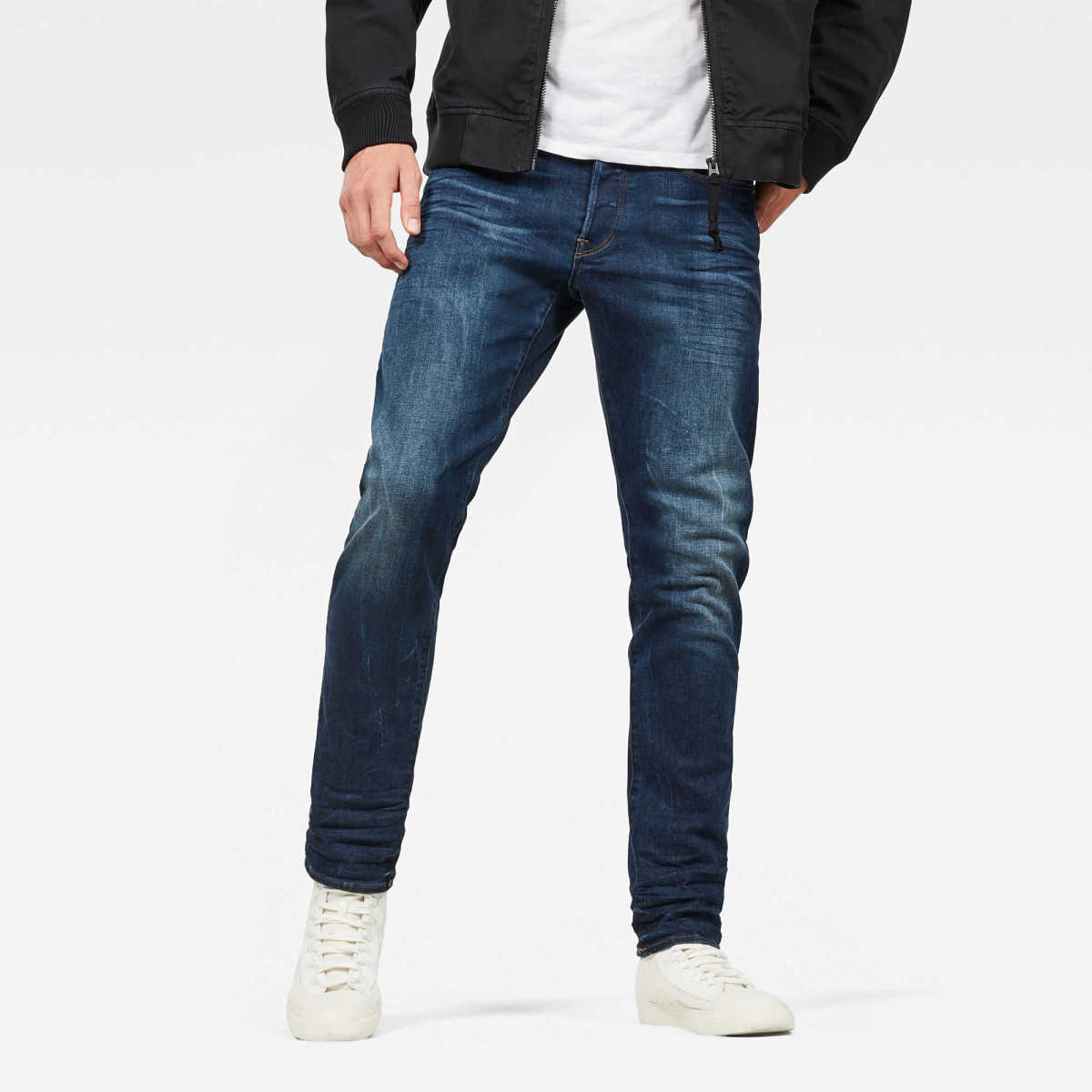 G-Star Male 3301 Straight Tapered Jeans Tapered Dark Blue USA - GOOFASH - Mens JEANS