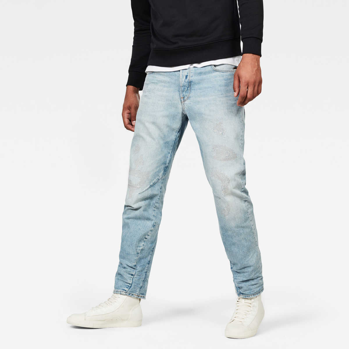 G-Star Male Arc 3d Relaxed Tapered Jeans Relaxed Light Blue USA - GOOFASH - Mens JEANS