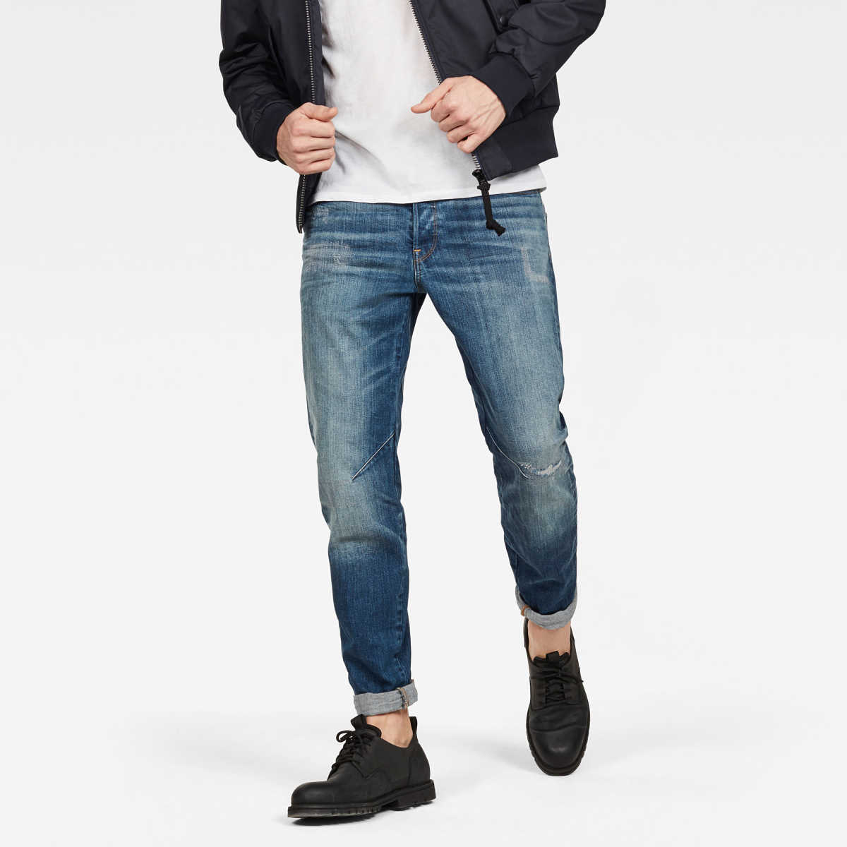 G-Star Male Arc 3d Relaxed Tapered Jeans Tapered Medium Blue USA - GOOFASH - Mens JEANS