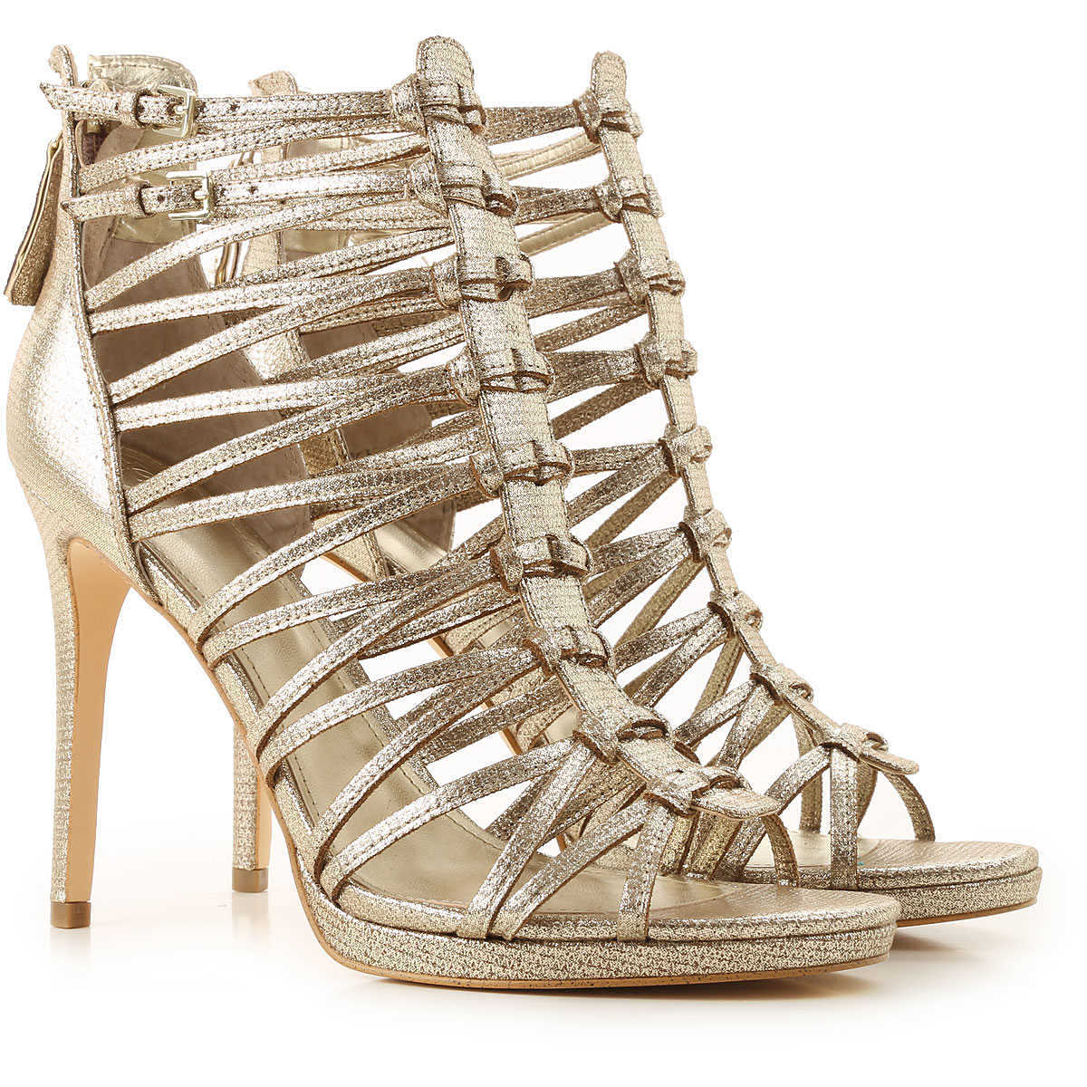 Guess Sandals for Women On Sale Gold UK - GOOFASH