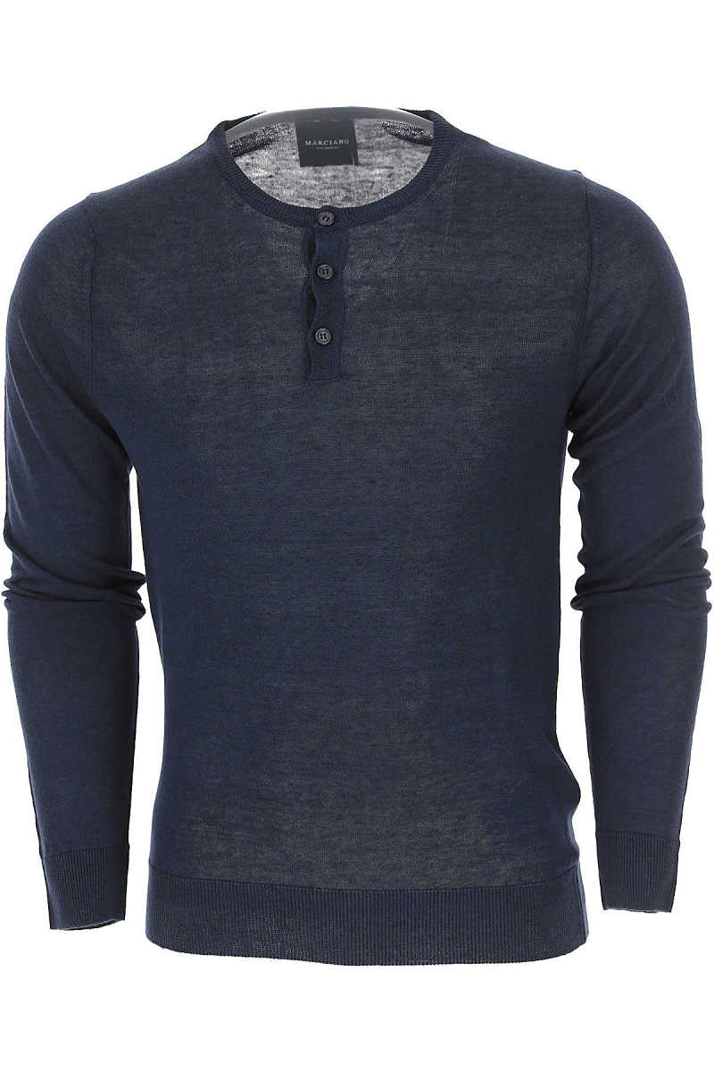 Guess Sweater for Men Jumper On Sale Dark Midnight Blue UK - GOOFASH - Mens SWEATERS