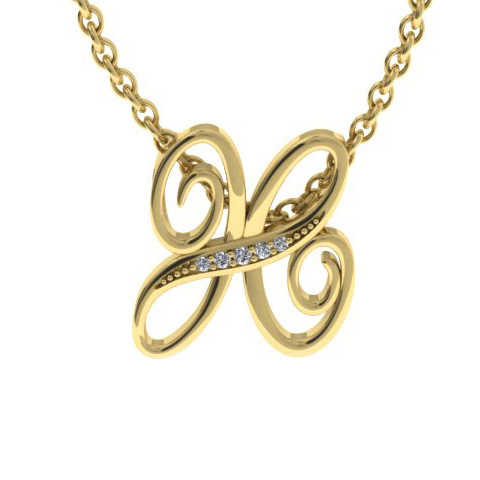 H Initial Necklace in Yellow Gold (2.2 g) w/ 5 Diamonds