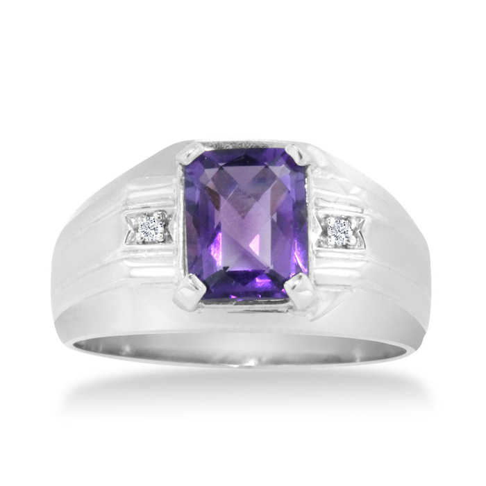 Hansa 2 1/4 Carat Emerald Cut Amethyst & Diamond Men's Ring Crafted in Solid White Gold