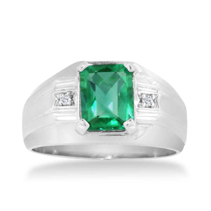 Hansa 2 1/4 Carat Emerald Cut Created Emerald & Diamond Men's Ring Crafted in Solid White Gold