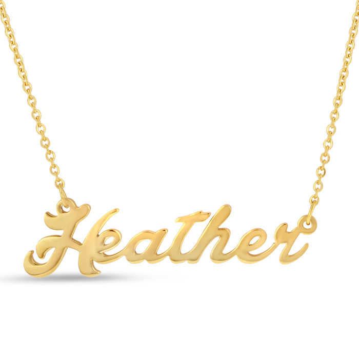 Heather Nameplate Necklace in Gold