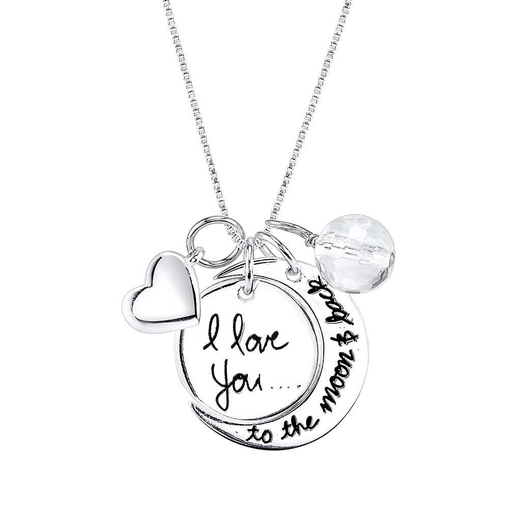 """""""I Love You to the Moon and Back"""" Charm Pendant in Sterling Silver - Helzberg Diamonds USA - GOOFASH - Womens JEWELRY"""