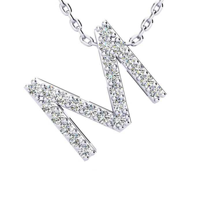 M Initial Necklace in White Gold (2.4 g) w/ 23 Diamonds