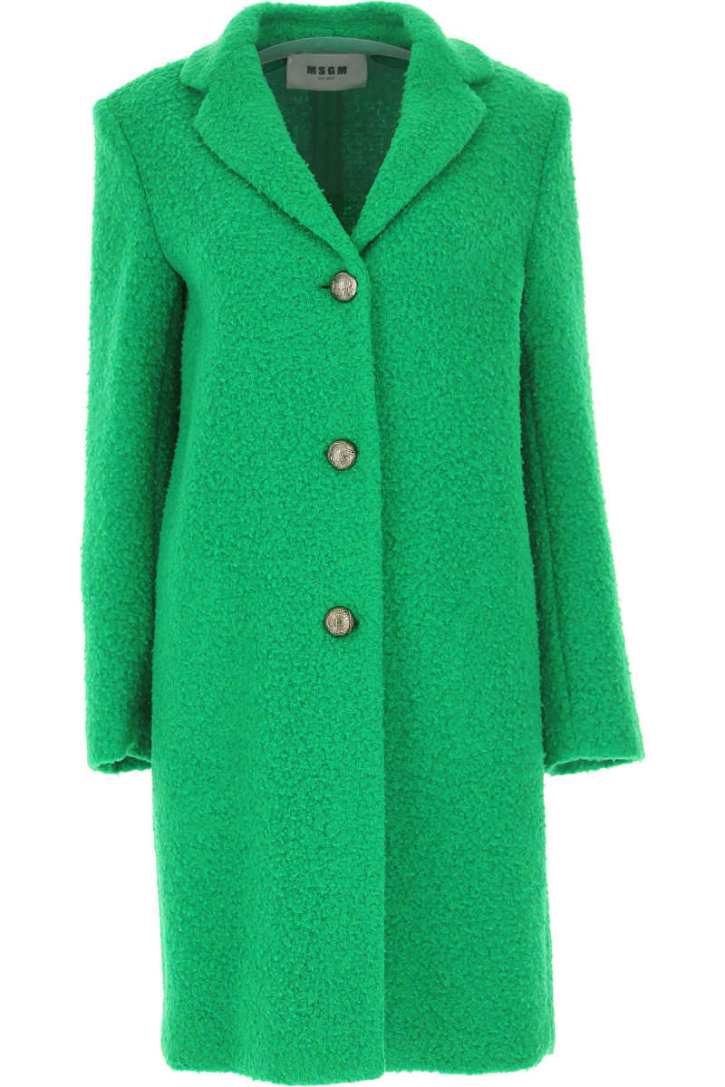 MSGM Women's Coat On Sale in Outlet Grass Green - GOOFASH