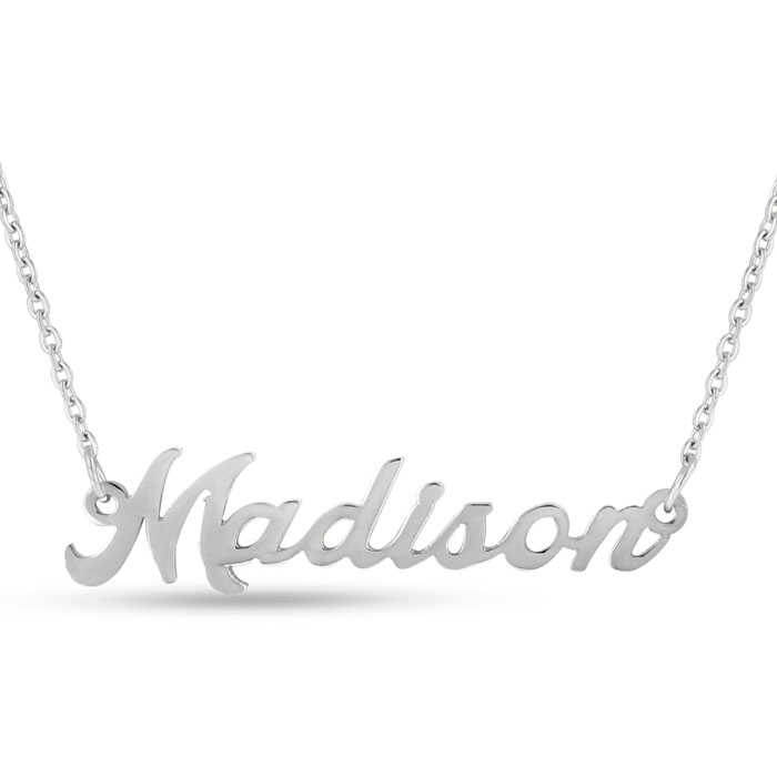 Madison Nameplate Necklace in Silver