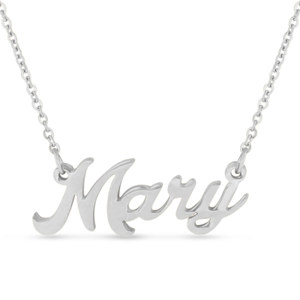 Mary Nameplate Necklace in Silver
