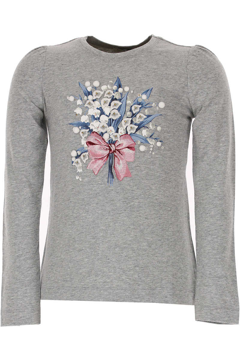 Monnalisa Kids T-Shirt for Girls On Sale in Outlet Grey - GOOFASH - Womens T-SHIRTS