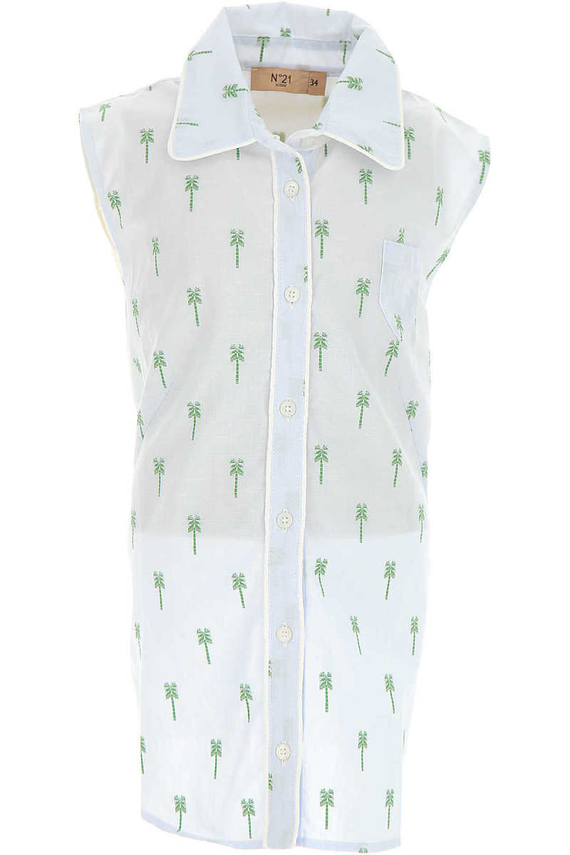 NO 21 Kids Shirts for Girls On Sale in Outlet Sky Blue UK - GOOFASH - Womens SHIRTS