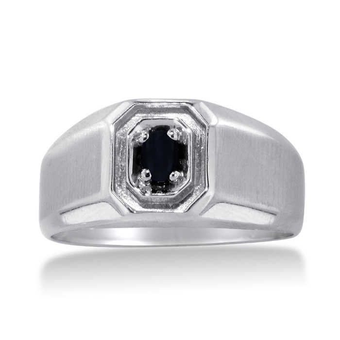 Oval Black Onyx Men's Ring Crafted in Solid 14K White Gold UK - GOOFASH - Mens JEWELRY