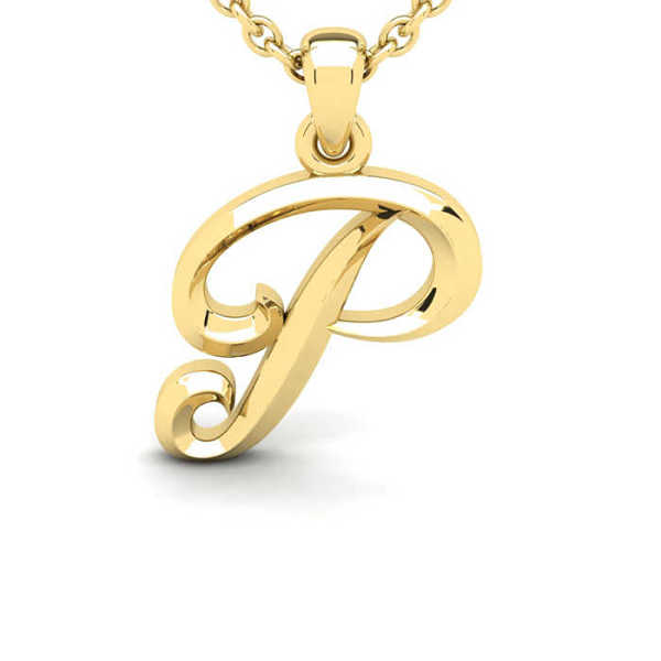 P Swirly Initial Necklace in Heavy 14K Yellow Gold (2.4 g) w/ Free 18 Inch Cable Chain UK - GOOFASH - Womens JEWELRY