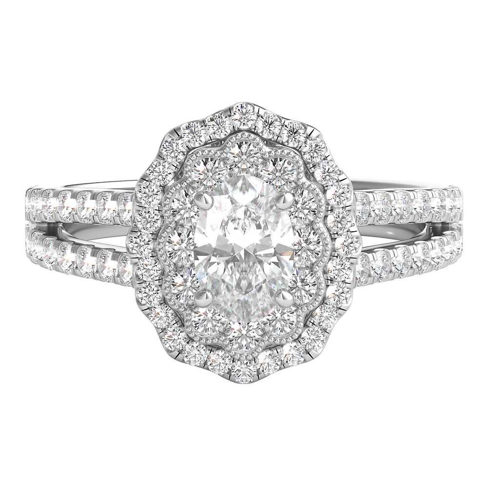 Radiant Star® 7/8 ct. tw. Diamond Oval Engagement Ring in 14K White Gold - Radiant Star USA - GOOFASH - Womens JEWELRY