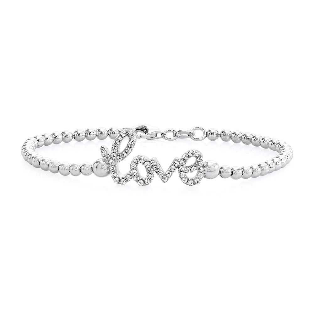 Rhythm & Muse™ Lab-Created White Sapphire Love Bracelet in Sterling Silver - Rhythm & Muse USA - GOOFASH - Womens JEWELRY