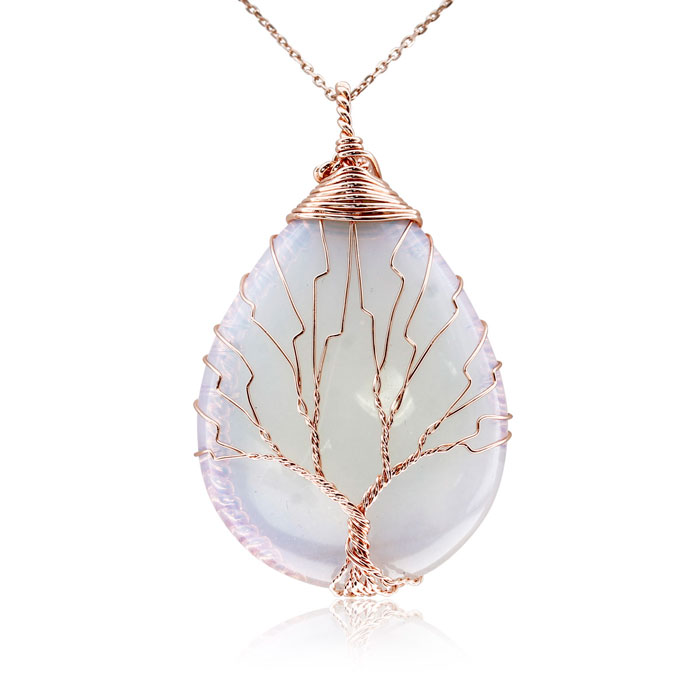 Rose Gold Tree of Life Wire Wrapped Opal Teardrop Necklace