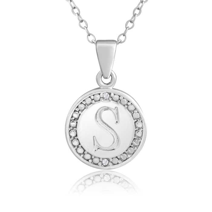 """""""S"""" Initial Diamond Necklace in Sterling Silver"""