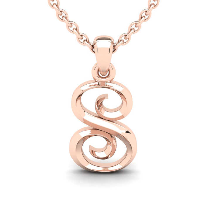 S Swirly Initial Necklace in Heavy 14K Rose Gold (2.4 g) w/ Free 18 Inch Cable Chain UK - GOOFASH - Womens JEWELRY