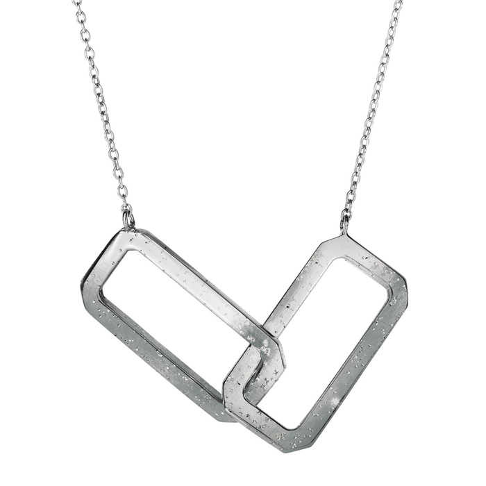 Sterling Silver Interlocking Stardust Rectangle Necklace