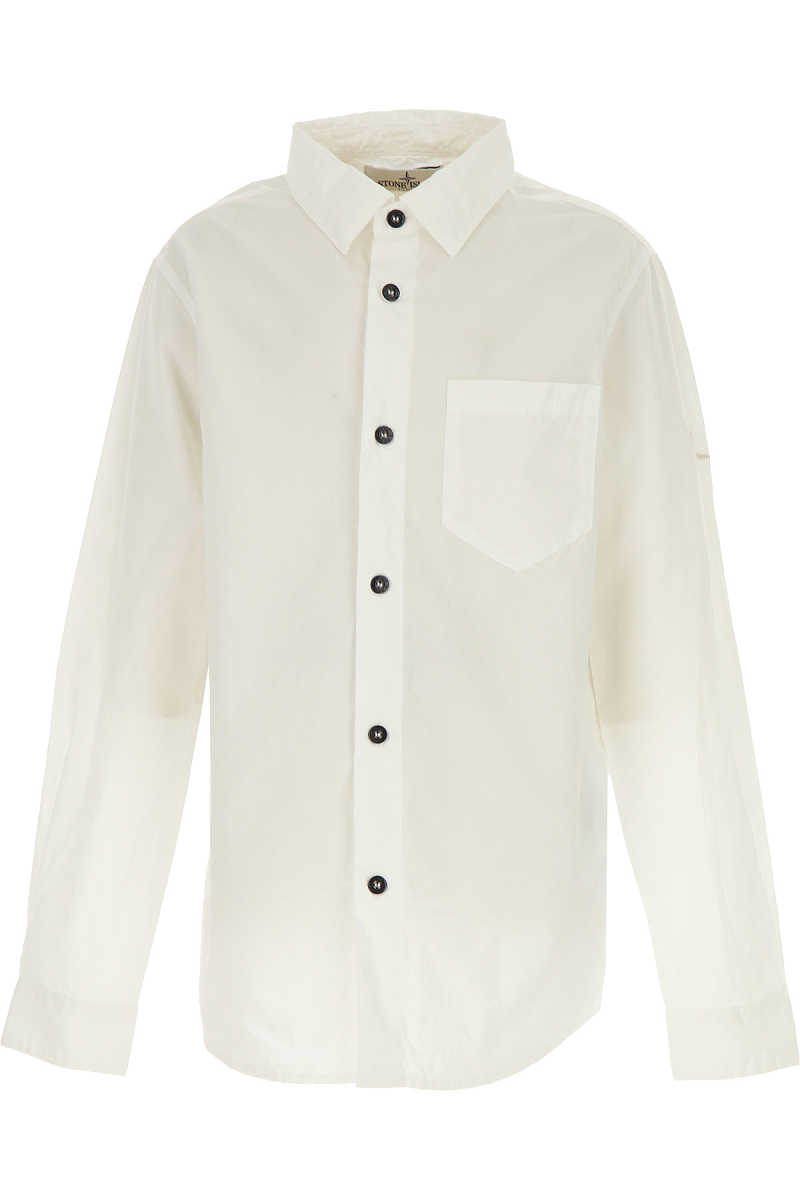 Stone Island Kids Shirts for Boys On Sale White - GOOFASH - Mens SHIRTS