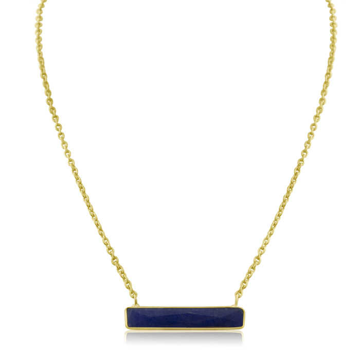 Sundar Gem 10 Carat Sapphire Bar Necklace in Yellow Gold Over Sterling Silver Overlay