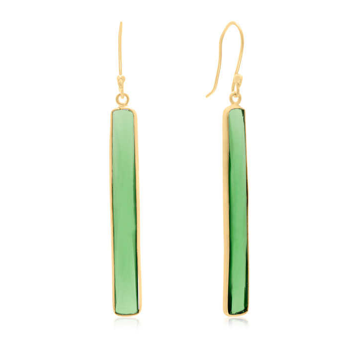 Sundar Gem 17 Carat Emerald Quartz Bar Earrings In14K Yellow Gold Over Sterling Silver