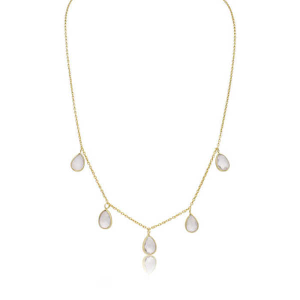 Sundar Gem 4 Carat Clear Quartz Multi Drop Necklace in 14K Yellow Gold Over Sterling Silver