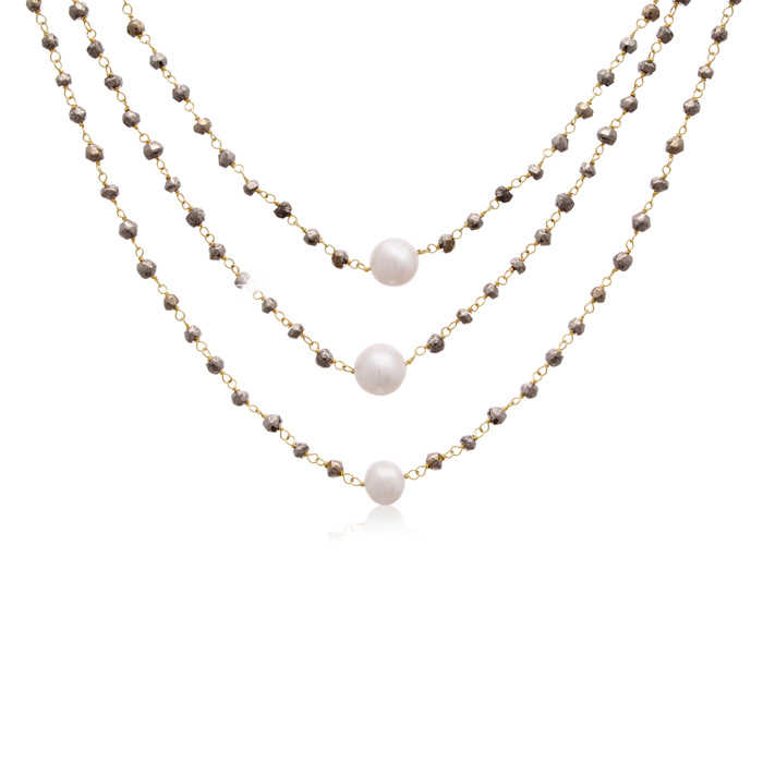 Sundar Gem 90 Carat Pyrite & Pearl Triple Strand Necklace in 14K Yellow Gold Over Sterling Silver