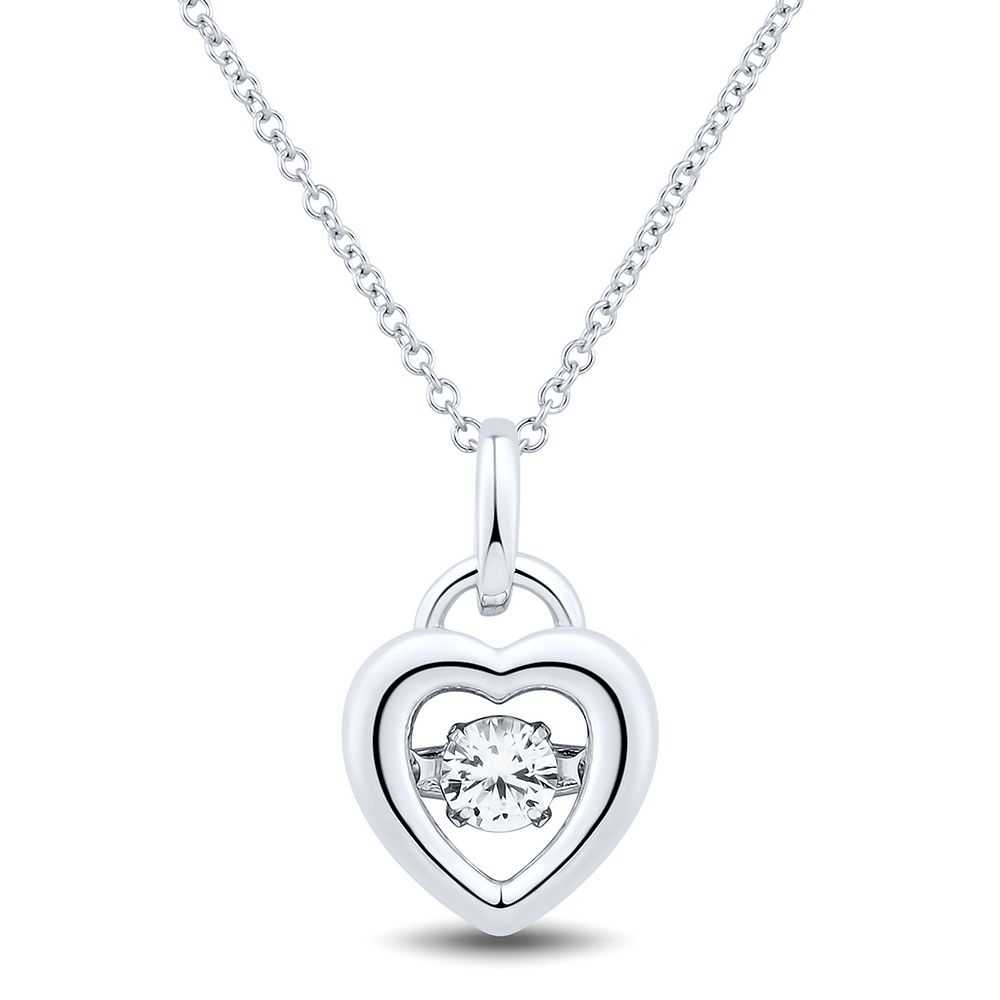 The Beat of Your Heart® Lab-Created White Sapphire Heart Pendant in Sterling Silver - The Beat of Your Heart USA - GOOFASH - Womens JEWELRY