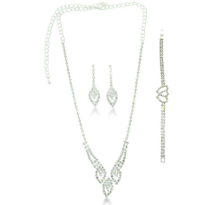Triple Marquise Rhinestone Necklace & Dangle Earring Bridal Ensemble