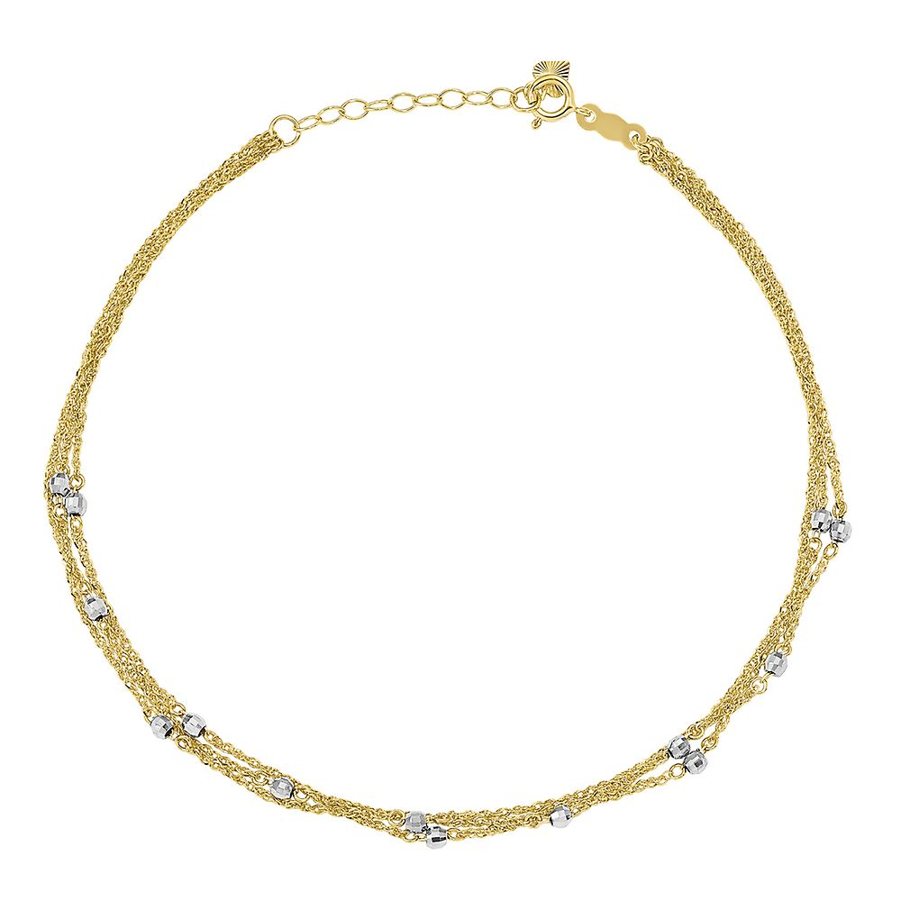 Triple Strand Beaded Ankle Bracelet in 14K Yellow & White Gold - Helzberg Diamonds USA - GOOFASH - Womens JEWELRY