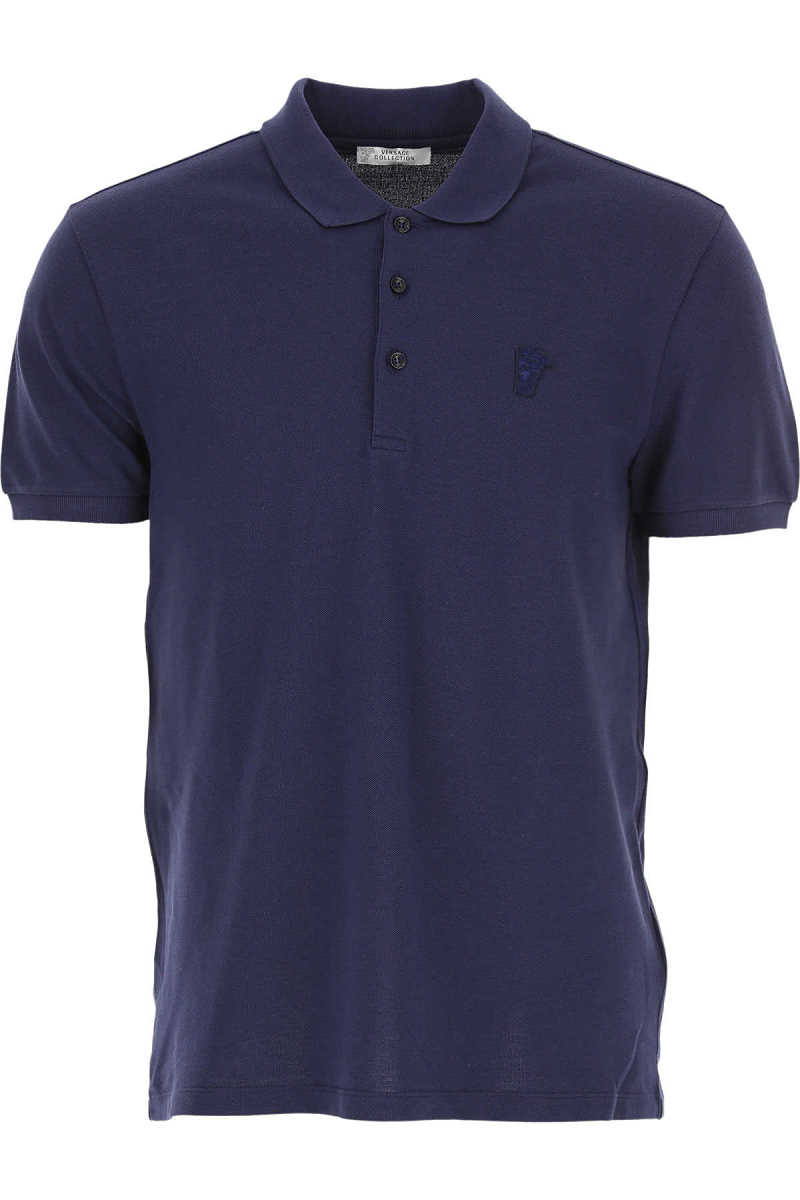 Versace Polo Shirt for Men Navy Blue UK - GOOFASH - Mens POLOSHIRTS