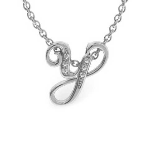 Y Initial Necklace in White Gold (2.2 g) w/ 6 Diamonds