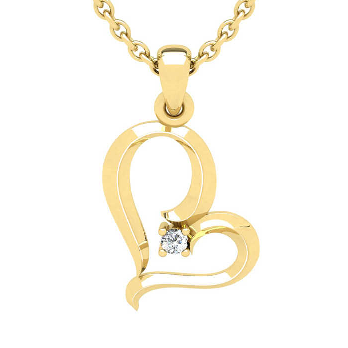 Yellow Gold (2.7 g) Reclining Heart w/ Single Fiery 5 Point Diamond on 18 Inch Chain Necklace