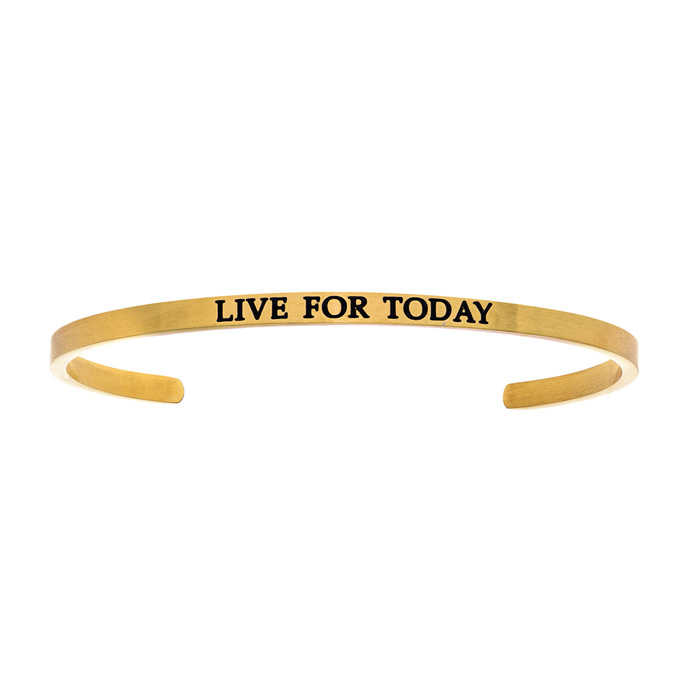 """Yellow Gold """"LIVE FOR TODAY"""" Bangle Bracelet"""